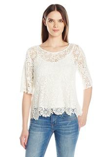 VELVET BY GRAHAM & SPENCER Women's Lace Half Sleeve Blouse  XS
