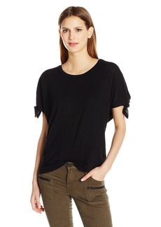 Velvet by Graham & Spencer Women's Linen Knit Knot Sleeve Tee  S