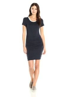 VELVET BY GRAHAM & SPENCER Women's Lux Gauze Side Ruched Ringer Tee Dress  L