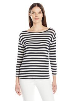 Velvet by Graham & Spencer Women's Lux Gauze Stripe 3/4 Sleeve Tee  M