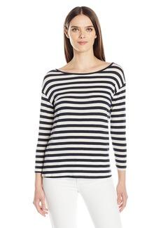 Velvet by Graham & Spencer Women's Lux Gauze Stripe 3/4 Sleeve Tee  S