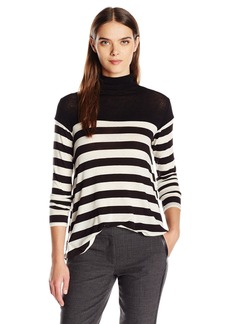 VELVET BY GRAHAM & SPENCER Women's Lux Gauze Stripe Turtleneck  L