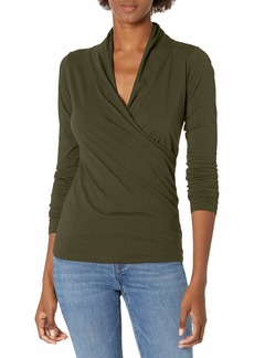 Velvet by Graham & Spencer Women's Meri Gauzy Whisper Classics Longsleeve Wrap Tee  XL