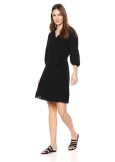 Velvet by Graham & Spencer Women's Merina Cotton Eyelet Wrap Dress  XS