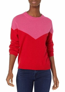 Velvet by Graham & Spencer Women's Mika Cashmere Classics Colorblock Sweater RED L