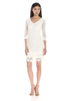 VELVET BY GRAHAM & SPENCER Women's Mixed Lace 3/4 Sleeve Dress