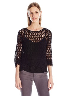 VELVET BY GRAHAM & SPENCER Women's Mixed Lace Blouse