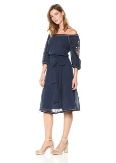 Velvet by Graham & Spencer Women's Monae Embroidered Peasant Dress  L
