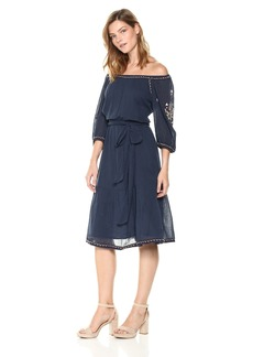Velvet by Graham & Spencer Women's Monae Embroidered Peasant Dress  XS