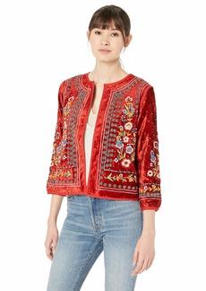 Velvet by Graham & Spencer Women's Nita Velvet Embroidered Jacket red S