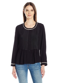VELVET BY GRAHAM & SPENCER Women's Pintuck Longsleeve Blouse