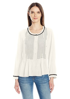 Velvet by Graham & Spencer Women's Pintuck Longsleeve Blouse  L