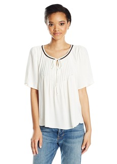 VELVET BY GRAHAM & SPENCER Women's Pintuck Shortsleeve Swing Blouse  M