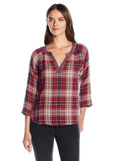 VELVET BY GRAHAM & SPENCER Women's Plaid Split Neck Pullover Shirt  S