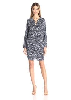 VELVET BY GRAHAM & SPENCER Women's Printed Challis Laceup Dress  L