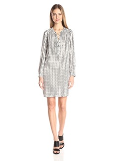 Velvet by Graham & Spencer Women's Printed Challis Laceup Dress  XS