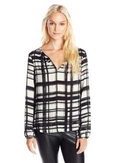 VELVET BY GRAHAM & SPENCER Women's Printed Challis Long Sleeve Blouse