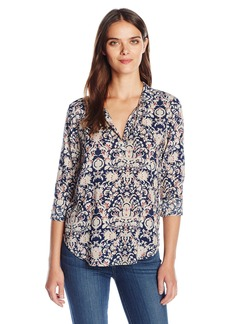 VELVET BY GRAHAM & SPENCER Women's Printed Challis Longsleeve Blouse  XS