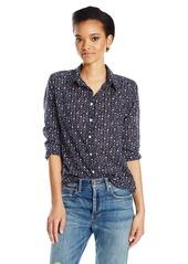 Velvet by Graham & Spencer Women's Printed Cotton Button Down Shirt  M