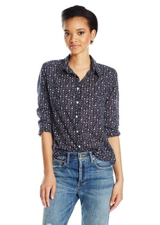 Velvet by Graham & Spencer Women's Printed Cotton Button Down Shirt  M
