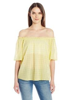 VELVET BY GRAHAM & SPENCER Women's Printed Cotton Off the Shoulder Blouse  L