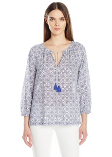 Velvet by Graham & Spencer Women's Printed Cotton Peasant Blouse  S