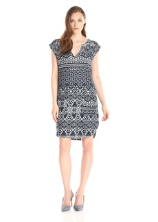 VELVET BY GRAHAM & SPENCER Women's Printed French Dress Pocket Dress