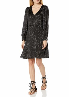 Velvet by Graham & Spencer Women's Rachel Printed Satin V-Neck Dress  M