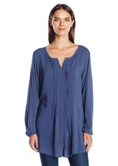 VELVET BY GRAHAM & SPENCER Women's Rayon Challis Tuxedo Tunic Blouse  S