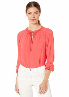 Velvet by Graham & Spencer Women's Samantha Rayon challlis Blouse CRANAPPLE L