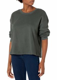 VELVET BY GRAHAM & SPENCER Women's Sarah Soft Fleece 3/4 Puff Sleeve Sweatshirt VERTE L