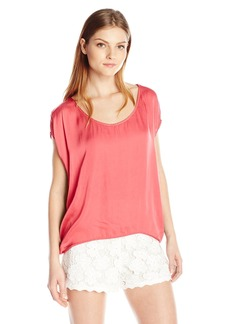 VELVET BY GRAHAM & SPENCER Women's Satin Shortsleeve Blouse