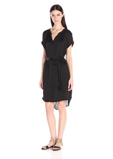 VELVET BY GRAHAM & SPENCER Women's Satin Split-Neck Dress