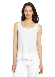 VELVET BY GRAHAM & SPENCER Women's Sheer Jersey Mixed With Gauze Tank Top