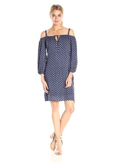 VELVET BY GRAHAM & SPENCER Women's Sheer Printed Gauze Off the Shoulder Dress  L