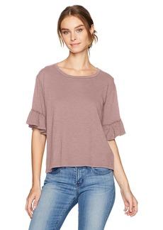 Velvet by Graham & Spencer Women's Slub Ruffle Sleeve T-Shirt  M