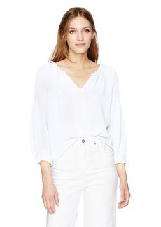 VELVET BY GRAHAM & SPENCER Women's Soft Cotton Gauze Peasant Blouse  L