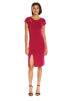 VELVET BY GRAHAM & SPENCER Women's Stretch Jersey Capsleeve Dress  L