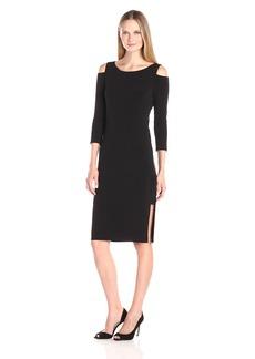VELVET BY GRAHAM & SPENCER Women's Stretch Jersey Cold Shoulder Dress  M