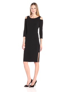 VELVET BY GRAHAM & SPENCER Women's Stretch Jersey Cold Shoulder Dress  S