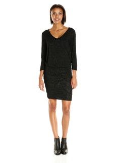 VELVET BY GRAHAM & SPENCER Women's Textured Knit Ruched Dress  L