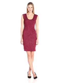VELVET BY GRAHAM & SPENCER Women's Textured Knit Ruched Dress  M