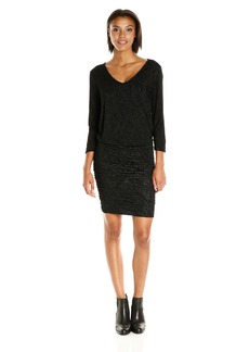 Velvet by Graham & Spencer Women's Textured Knit Ruched Dress  XS
