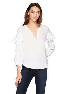 Velvet by Graham & Spencer Women's Tyra Linen Ruffle Longsleeve Top  S