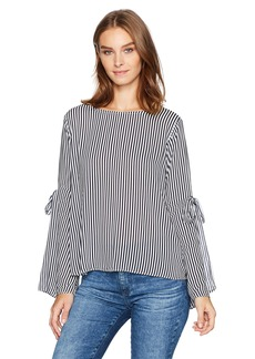 Velvet by Graham & Spencer Women's Vertical Stripe Tie Sleeve Blouse  S