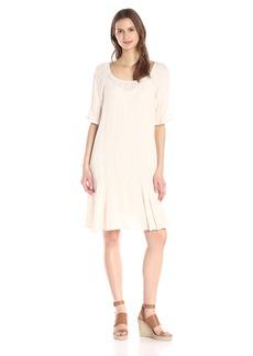 VELVET BY GRAHAM & SPENCER Women's Windowpane Drop-Waist Dress