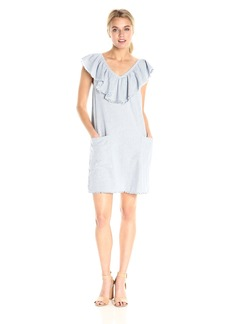 VELVET BY GRAHAM & SPENCER Women's Woven Cotton Stripe Ruffle V Dress  M