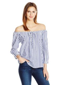 VELVET BY GRAHAM & SPENCER Women's Woven Stripe Off The Shoulder Shirt  S