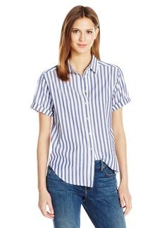 VELVET BY GRAHAM & SPENCER Women's Woven Stripe Shortsleeve Button Down Shirt  M