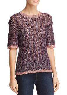 Velvet by Graham & Spencer Zabella Metallic Elbow-Sleeve Sweater